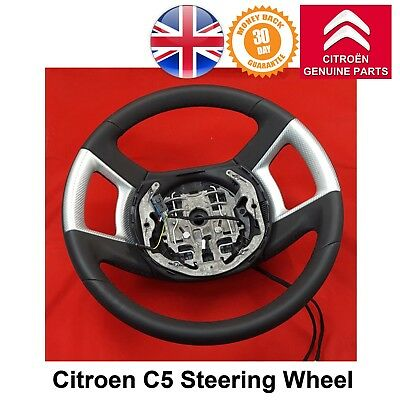 Citroen C5 III Steering Wheel Smooth Leather with Silver Decor New 98027445VV
