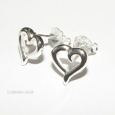 Solid 925 Sterling Silver Stud Earrings Exquisite Heart Design New with Gift Bag
