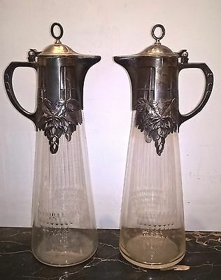 2 WMF Silver Plate Crystal Pitcher Jugs Signed Antique Art Nouveau Deco in Pair