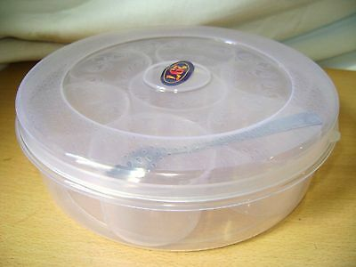 New Clear Plastic Spice Masala Dabba Box With 7 Pots & Spoon Indian Cookery