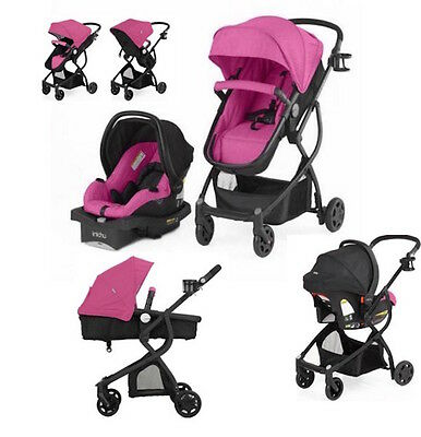 Pink Baby Stroller Car Seat Carriage 3 in 1 Travel System Bassinet lightweight