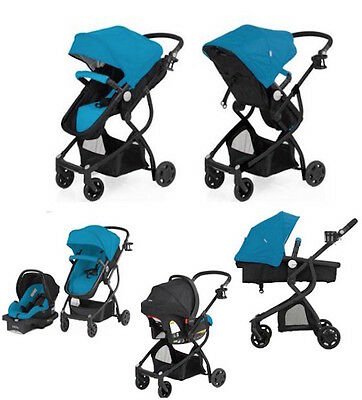 Blue Baby Stroller Car Seat Carriage 3 in 1 Travel System Bassinet lightweight