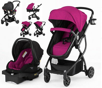 Baby Stroller Car Seat Carriage 3in1 Travel System Bassinet light Purplish Pink