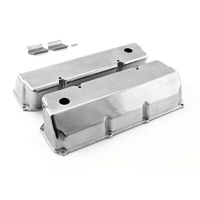 Ford 302 351C Cleveland Polished Aluminum Plain Valve Covers - Tall w/ Hole
