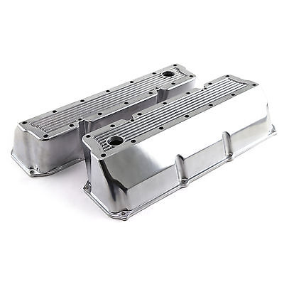 Ford 302 351C Cleveland Polished Aluminum Elite Valve Covers - Tall w/Hole