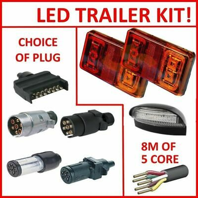PAIR OF LED TRAILER LIGHTS, 1 X PLUG, 1 x NUMBER P, 8M X 5 CORE WIRE KIT REWIRE
