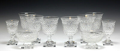 10pc Kosta Edvin Ollers GEORGIAN Cut Crystal Goblets, assorted pieces