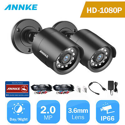 SANNCE 2x In/Outdoor 1500TVL Bullet IR 720P Day/Night Video CCTV Security Camera
