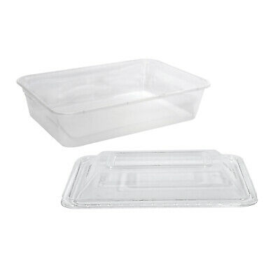 500x Clear Plastic Container w Dome Lid 500mL Rectangle Disposable Chinese Dish