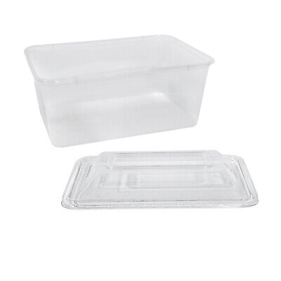 500x Clear Plastic Container w Dome Lid 1000mL Rectangle Disposable Chinese Dish