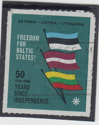 Stamp 50 years since independence Baltic States propaganda cinderella label