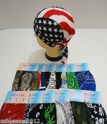 12 pc Assorted Skull Cap Lot Paisley Biker Motorcycle Bandanas Du Rag Doo Rag