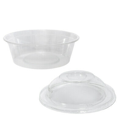 100x Clear Plastic Container w Dome Lid 225mL Round Disposable Yoghurt Dish