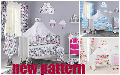 Double-Sided Cot Cotbed Bedding Nursery Set 5 Pcs Pieces Quilt Bumper & Frill