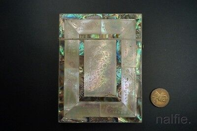 ANTIQUE CHINESE ENGRAVED MOTHER OF PEARL & ABALONE CARD CASE c1800s