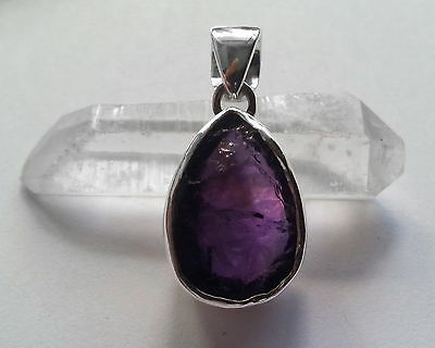 673 Amethyst natural rough stone pendant solid 925 sterling silver rrp$74.95
