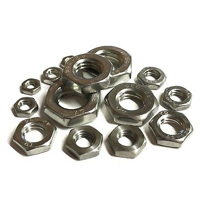 A2 Stainless Steel Half Lock Thin Nuts - Hexagon Half Nuts - Metric Coarse Pitch