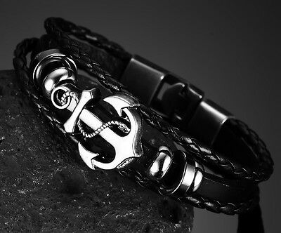 Mens boys black Leather Anchor  Wristband Bracelet Stainless Steel Clap