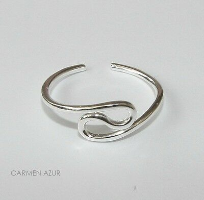 Solid 925 Sterling Silver Toe / Midi Ring Wave Design New Inc Gift Bag