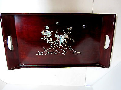 Antique Oriental Ornate Mother of Pearl Inlaid Dark Red Wood Tea Serving Tray