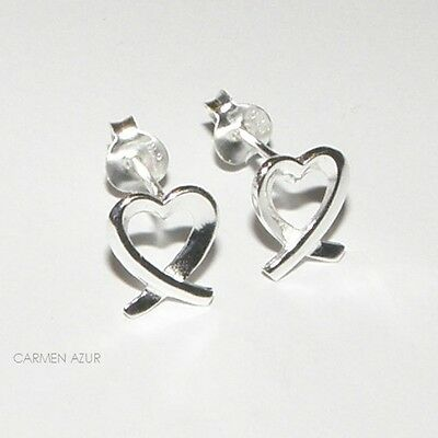 Solid 925 Sterling Silver Stud Earrings Crossed Heart Design New Inc Gift Bag