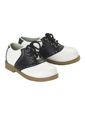 Brand New Kids 50's Fifties  Lace Up Black and White Saddle Shoes
