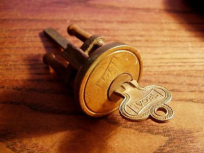 VINTAGE SOLID BRASS SEGAL DOOR LOCK Cylinder  &  Working Key