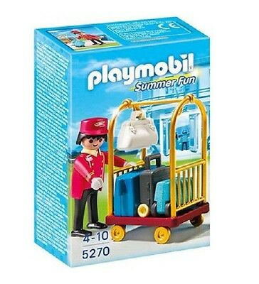 PLAYMOBIL Porter with Baggage Cart Set 5270 - 24pcs & Figure! Brand New/Sealed