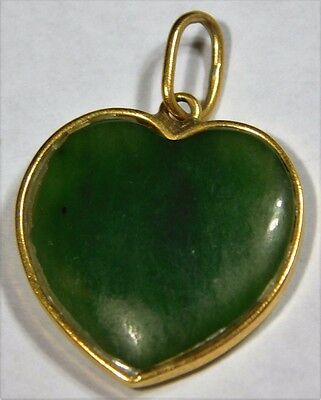 Vtg Chinese Spinach Green Jade 14K Gold Heart Pendant