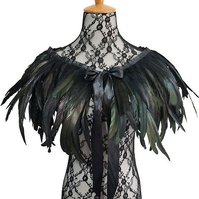 New Black Green Feather Hand made Collar Cape Shawl Wrap for party evening dress