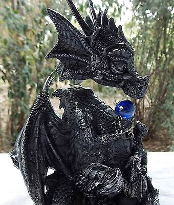 16Cm Black Dragon Bobble Head W/blue Crystal Ball - New Fantasy/gothic Giftware