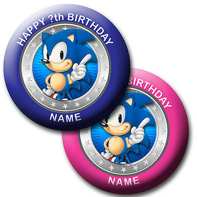 PERSONALISED SONIC HEDGEHOG BADGES/ MAGNETS/MIRRORS 58MM or 77MM