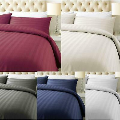 Luxury 800 Thread Count Cotton Rich Satin Stripe Duvet Cover with Pillowcase