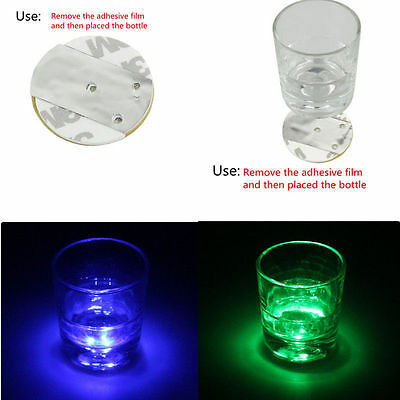 3 LED Flashing Lights Bulb Bottle Cup Mat Coaster For Clubs Bars Party HOT
