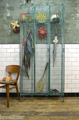Vintage Industrial Metal Triple Wire Mesh Locker Wardrobe Cabinet Cupboard