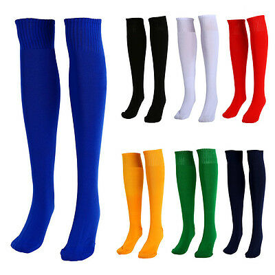 Football Plain Long Socks Sport Knee High Medium Hockey Ruby Mens Womens New MR