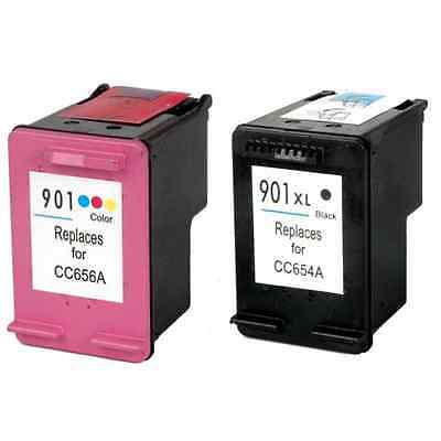 2 Cartuchos Para Hp 901Negro Y Color Remanufacturado Compatible Xl