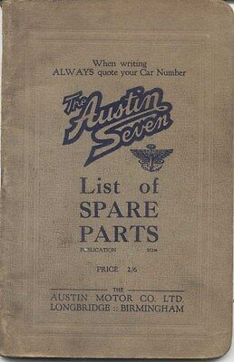 Austin Seven 7 original illustrated Parts List Pub. No. 353M November 1927