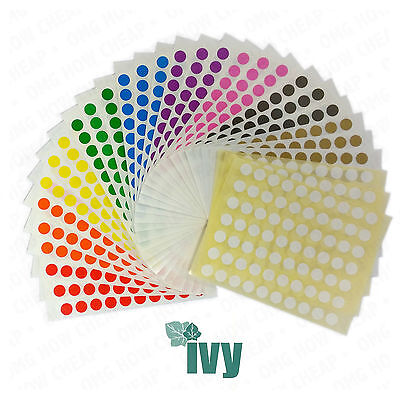 4,200 STICKY COLOURED 8mm LABELS DOTS CIRCLES SELF ADHESIVE [TEN COLOURS] 232755