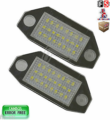 2 X Ford Mondeo License Number Plate Lights Led White 18Smd Canbus Error Free