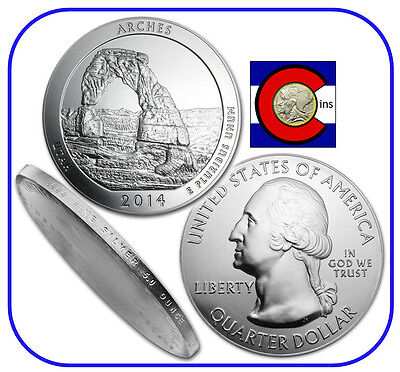 2014 Arches UT 5 oz Silver America the Beautiful (ATB) Coin in airtite