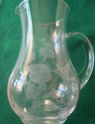 Avon Vintage**hummingbird 24% Full Lead Crystal Pitcher*1989*nib*made In France