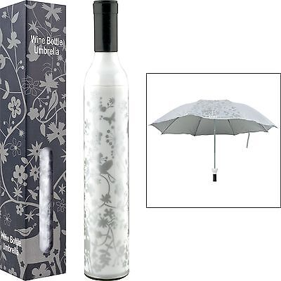 Decorative Floral White and Silver Wine Bottle Umbrella for Sun or Showers