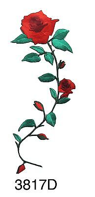 """#3817 6-3//4/"""" Pink,Blue,Red,Yellow Rose Flower Embroidery Iron On Applique Patch"""