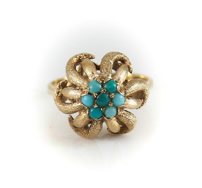 14k Yellow Gold and Turquoise Ring Floral with Openwork Design Size 6.5, 5.13g