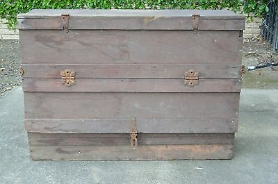 WOW Vintage Antique Wooden Trunk Dresser? Tool Box? with Drawers Rare