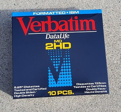 New VERBATIM 5.25 DS/HD floppy disks. Sealed box of 10 (5 1/4 floppy diskettes)