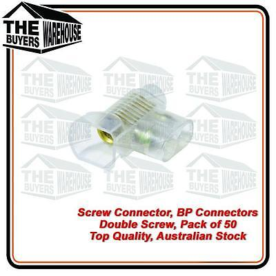 BP DOUBLE SCREW CONNECTORS JAR of 50 3MM x 6MM 240V ELECTRICAL WIRE JOINERS