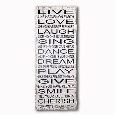 """LIVE LOVE LAUGH"" Hanging Wooden Wall Plaque 20x60CM Home Decoration"