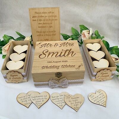 Wooden Rustic Wedding Wish Box Guest Book Alternative Drop in Box Wishes Wood